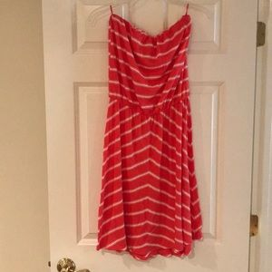 Michael Stars strapless stripe cotton dress o/s